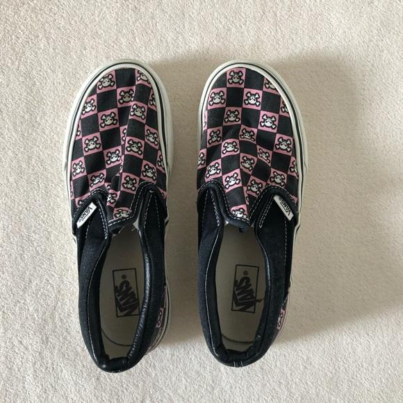 Vans Kids Pink Checkered Skull Slip Ons